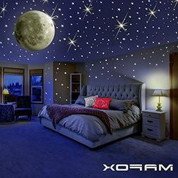 MAFOX Glow in The Dark Wall or Ceiling Stars with Moon Stick