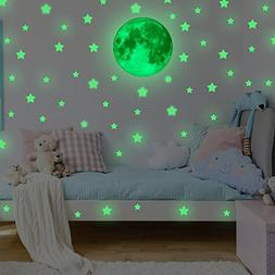 Glow in the Dark Stars with Moon for Ceiling or Wall Sticker