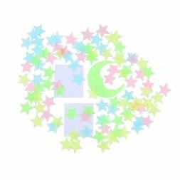Glow in the Dark Moon and Stars Wall Ceiling Decals Stickers