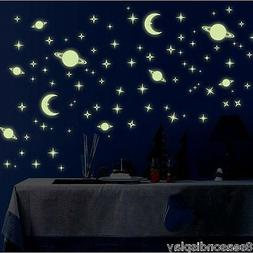 Glow In The Dark 3D Wall Sticker Space Planets Star Moon Dec