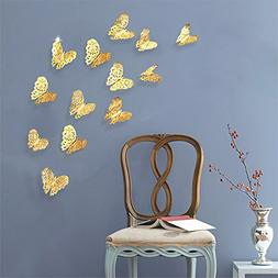 pinkblume 36 Pcs Gold Butterfly Decals Hollow-Out 3D Butterf