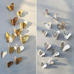 Gold/Silver 3D Butterfly Room Wall Sticker Children Bedroom