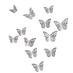 aooyaoo 12Pcs Golden 3D Butterfly Man-Made Removable Art Dec