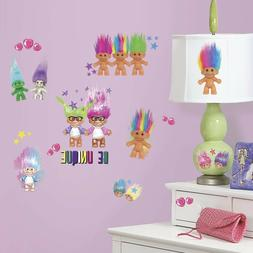 """GOOD LUCK TROLLS 30 PEEL AND STICK WALL DECALS"" ROOMMATES R"