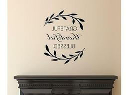 GRATEFUL THANKFUL BLESSED  Wall Art Decal Quote Words Letter