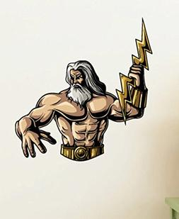 Greek God Zeus Wall Decals Stickers USColor018, Yellow w/ Wh