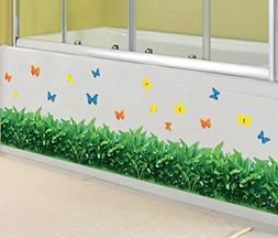BIBITIME Green Grass Border Wall Decals Colorful Butterfly V