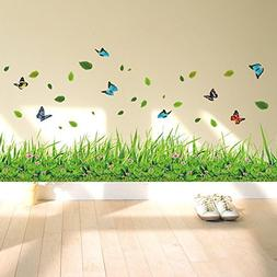 ufengke Green Grass Flowers Butterflies Wall Decals, Living