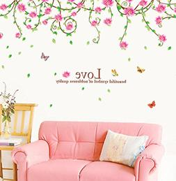 BIBITIME Green Leaves Vines Wall Art Blooming Pink Flower Wa