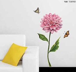 BIBITIME Green Stems Leaves Pink Flower Wall Decal Couple Bu