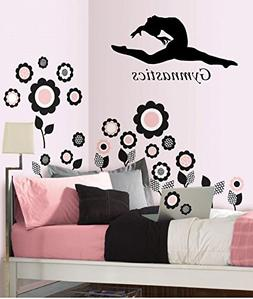 Gymnastics Wall Vinyl Decal Wall Art Gymnast Black or White