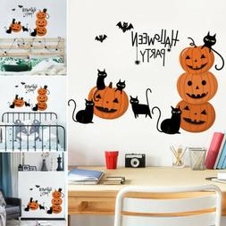 Halloween Pumpkins with Cat Wall Decals Wallpaper Scary Seas