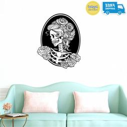BIBITIME Halloween Skull Wall Art Decor Decals Skeleton Stic