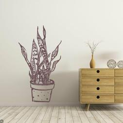 Hand Drawn Snake Plant, in a Polka Dot Pot, Wall Decal, mode
