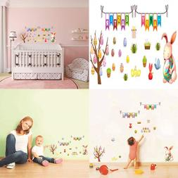 Happy Easter Wall Stickers Set Rabbit Sticker Creative Decal