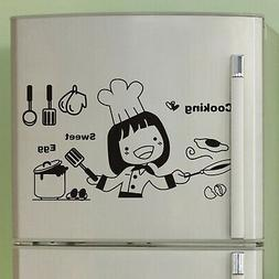 happy girl cooking sweet eggs kitchen wall
