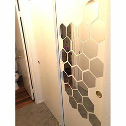 H2MTOOL Hexagon Stickers, 12 PCS 9cm Removable Acrylic Wall
