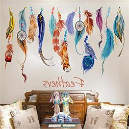 HN Classic Creative Dream Catcher Feather Wall Sticker Art D