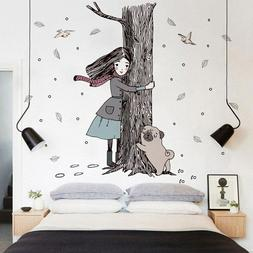 Hold The Tree Girl Dog Wall Stickers For Children Room Girls