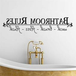 Home Art Wall Sticker Quotes Bathroom Rules Vinyl Wall Decor