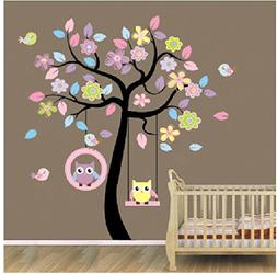 Home Art Decor Colorful Tree Decals with Hanging Owl DIY Wal