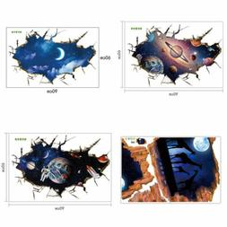 Home Room 3D Outer Space Wall Stickers Mural Art Removable W