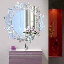 HOT 3D Feather Mirror Wall Sticker Room Decal Mural Art DIY