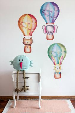 Hot Air Balloon Decal Pastel, Large Animals and Clouds Wall