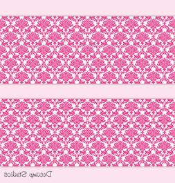 Hot Pink Damask Baby Girl Nursery Wallpaper Border Wall Art