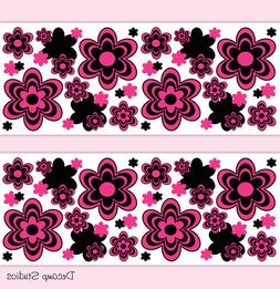 Hot Pink Floral Wallpaper Border Wall Art Decals Teen Girl R