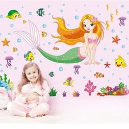 wall stickers mermaid pattern removable decals kids