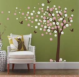 Huge Cherry Blossom Tree Blowing in the Wind Wall Decals Nur