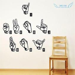I Love You in  ASL Sign Language Wall Decals Stickers Home D