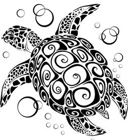 Imprinted Designs Sea Turtle with Bubbles Vinyl Wall Decal S