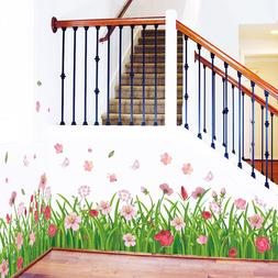 JT_ Flower Art Decals Wall Stickers Removable Home Decoratio