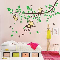 BIBITIME Jungle 3 Monkeys Playing on Tree Wall Sticker Vinyl