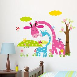 BIBITIME Jungle Animal Decal Pink Blue Giraffes Wall Sticker