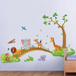 Jungle Animal Tree Removable Wall Decals Sticker Kids Nurser