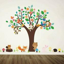 BIBITIME Jungle Animal Wall Decal Flower Branch Tree Squirre
