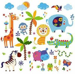 Jungle Animals Baby/Nursery Wall Sticker Decals For Boys And