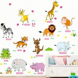jungle animals wall stickers for kids rooms decor poster wal
