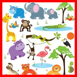 Jungle Safari Wild Animals Nursery Wall Sticker Decals For B
