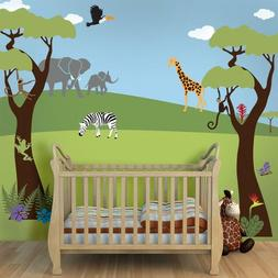 Jungle Tree and Safari Animals Wall Sticker Decals Set for N