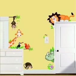 BIBITIME Jungle Wild Animal Vinyl Wall Sticker Decals for Ki