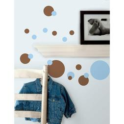 Roommates Just Dots Blue & Brown Peel & Stick Wall Decals