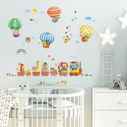 kid bedroom removable wall stickers animal train