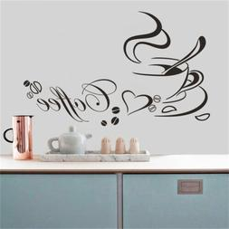 Kitchen Coffee Cup Heart Wall Stickers Home Restaurant DIY R