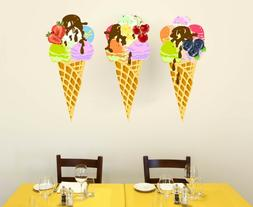 Kitchen Stickers Wall Decals Ice Cream Murals Full Color Caf