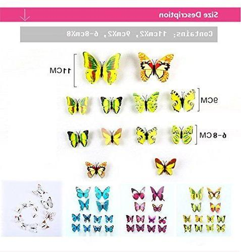 12 Pieces 3D Butterfly Art PVC Butterflies Stickers