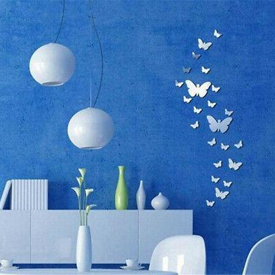 12pcs Mirror Butterfly Wall Stickers Removable Room Decor